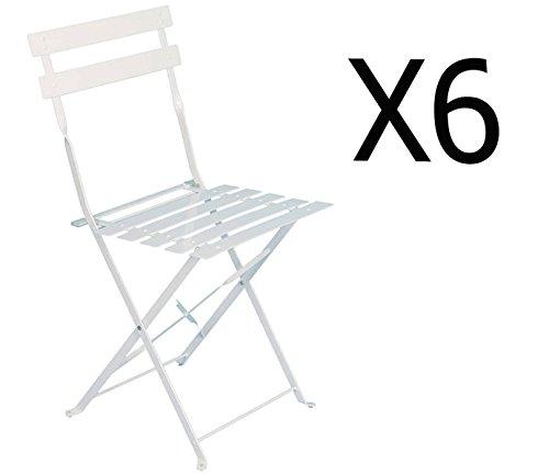 PEGANE Lot de 6 chaises Pliantes en Acier Coloris Blanc - Dim: 42 x 47 x 81 cm