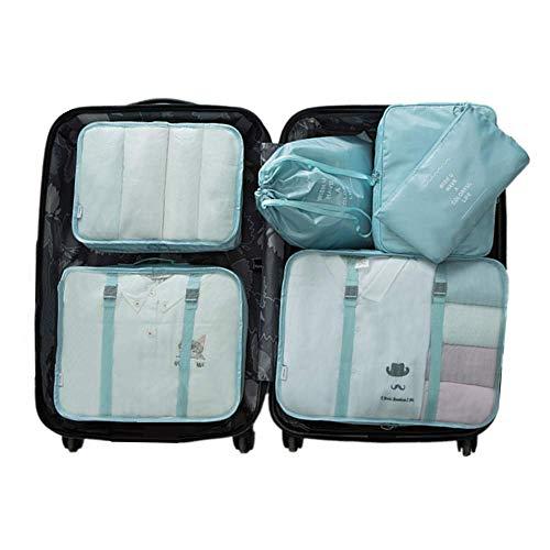 6 Set Kleidertaschen -4 Packwürfel + 1 Beutel + 1 Bündeltasche(Blue) -