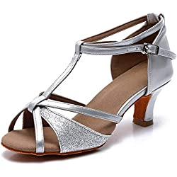 TRIWORIAE-Zapatos de Baile Latino de Tacón Alto/Medio para Mujer Plata 37(Tacón 5cm)