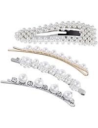 Lurrose 4pcs Perlas y Cristal Decorar Pasadores de Pelo Elegante Pinzas  para el Cabello para las 358932e72110