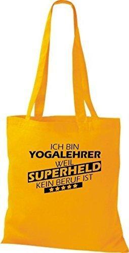 Stoffbeutel Ich bin Yogalehrer, weil Superheld kein Beruf ist Gelb