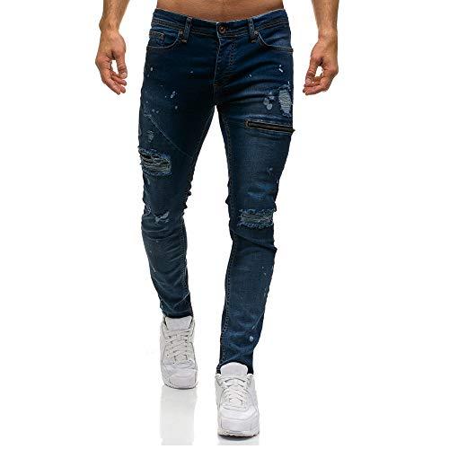 Feixiang uomo pantaloni pantaloni da lavoro uomo pantalone jeans tagliuzzati, jeans a vita alta, pantaloni per lavoro uomo