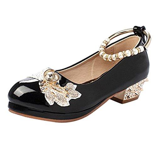 Brinny Fille élégante Chaussures à talon bas Bride cheville Bout Rond Princesse Ballerines Sandale fête Demoiselle d'honneur mariage avec perles faux diamant rivet Noir