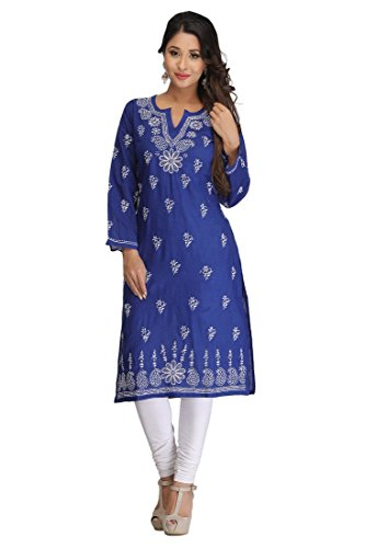ADA Lucknowi Chikan Hand Embroidered Regular Wear Kurta Kurti in Cotton A132478