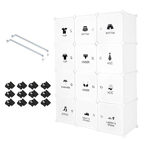 Meerveil Armoire Penderie Portable, Étagère de Rangement, Cubes de Stockage Modulaire en Plastique en métal Stable, Assemblage Facile pour Vêtements, Accessoires, Jouets (Autocollant, 12 Cube)