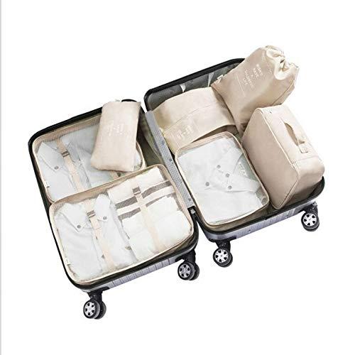 Renh Reisegepäck Aufbewahrungstasche wasserdicht Aufbewahrungstasche 7er Set, beige - Regal Schubladen Streifen