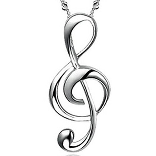 JewelryWe Collar para Mujer, Colgante de la Nota Musical Precioso, Collar Plateado Con Un Brillo Atractivo, 45CM Regalo de Navidad