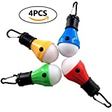 LED Tent Lights 4 Pack Portable Camping Light Lamp Tent Lantern Bulb for Hurricane Emergency Backpacking Hiking Outdoor and Indoor, Battery Powered for Power Outage (Multicolored)