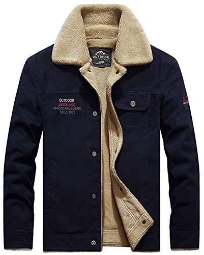 Moxishop Herren Classics Fellfutter verdickt Jeansjacke Fashion Denim Jacket Warm mit Fell Jacke Mantel Winterjacke Wintermantel (Large, Blauer Kaffee)