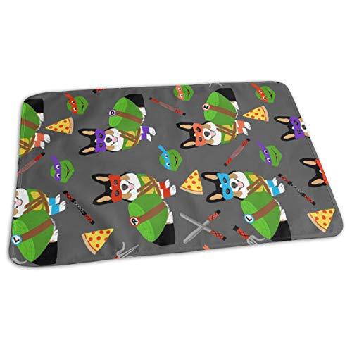 Tri Corgi Ninja Turtle - Dog, Dogs, Cartoon, Costume, Halloween - Charcoal Baby Portable Reusable Changing Pad Mat 19.7x27.5 inches