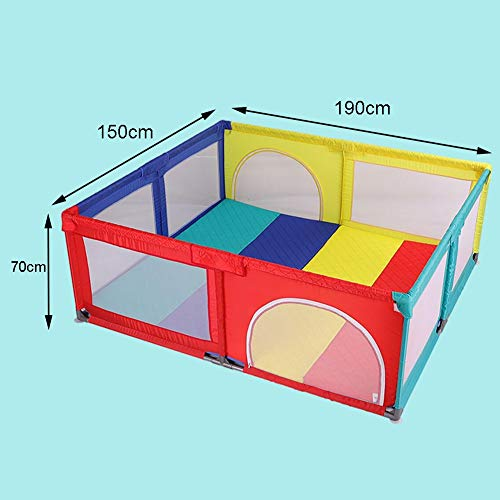 Playpens With Mat, Toddler Activity Centre Play Yard, Lightweight Portable Protective Fence, 150×190×70cm  MMDP