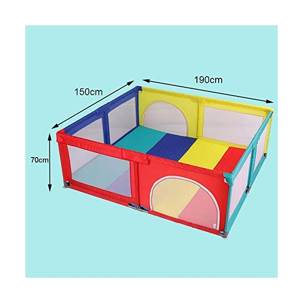 Playpens With Mat, Toddler Activity Centre Play Yard, Lightweight Portable Protective Fence, 150×190×70cm Playpens  2