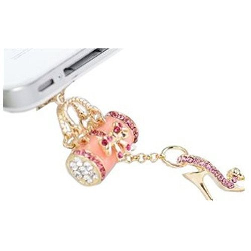 Sunroyal High Heel Strass Rhinestone Universal Staub Kopfhörer Jack Zubehör Handyanhänger / Staub-Stecker (für Samsung Galaxy S4 i9500,iPhone 4 4S, iPhone 6 6S, iPhone 6 Plus, iPhone 6S Plus,iPhone 5 5G 5S,S5, S5 Neo, I9600, GT-I9600, iPad 1 2 3 4 Mini, Google Nexus 4, Samsung N7100 , Huawei G7,G8, Honor 6 Plus, Galaxie S3 i9300, i8190, i9268, S5830, i9000, mit allen 3.5mm Klinke, Pink Rosa
