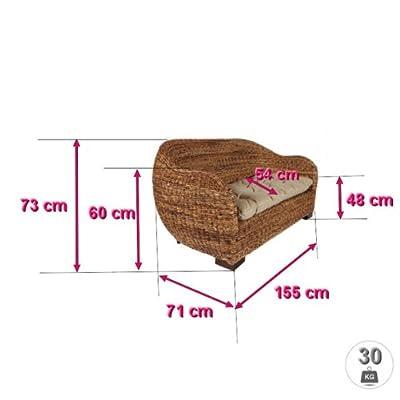 Rattansofa AZUR - Korbsofa - inkl. Sitzpolster - Massivholzfüße - Braun von Rotin Design bei Gartenmöbel von Du und Dein Garten