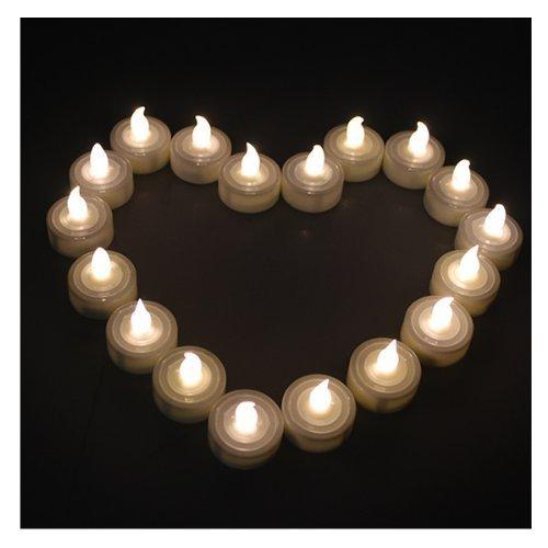 AGPTEK 100 warm weiße Teelichter Hochzeit flammenlose Kerzen Licht