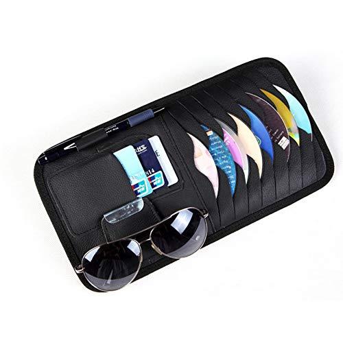 TrifyCore Auto Sonnenblende Carport CD DVD VCD-Discs Hülse Mappe PU-Leder Aufbewahrungstasche Halter mit Brille und Karten Organizer Clips schwarz, Startseite Praktisches Zubehör