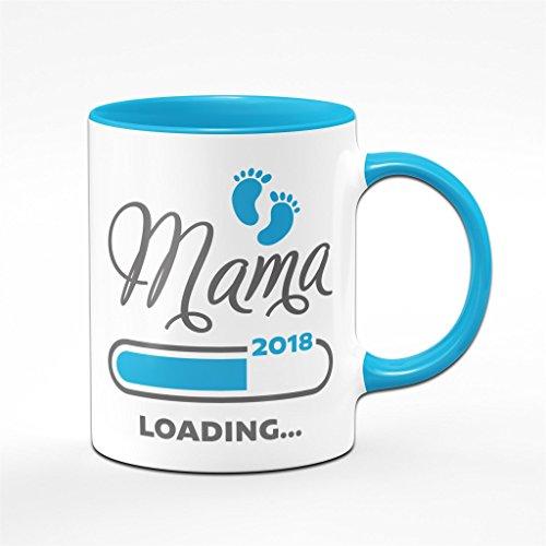 Tasse Mama loading 2018 blau - für werdende Mütter - das perfekte Geschenk für Schwangere - Kaffeetasse