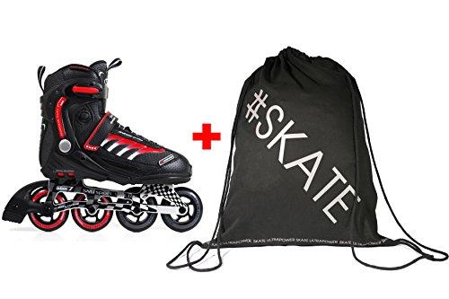 SET - SMJ® RX23 Inline Skates + ULTRAPOWER® Beutelrucksack   Damen   Herren   Inline Blades   ABEC7   Größen 42-46   Aluminiumschiene, SMJ:44, SMJ:Black / Red RX23