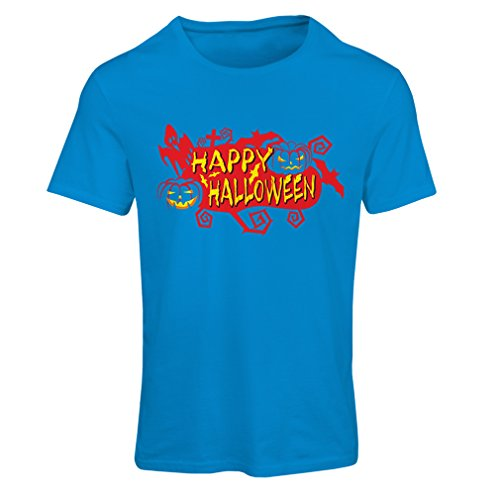 Frauen T-Shirt Owls, Bats, Ghosts, Pumpkins - Halloween outfit full of Spookiness (Large Blau Mehrfarben) (Sniper Halloween Kostüme)