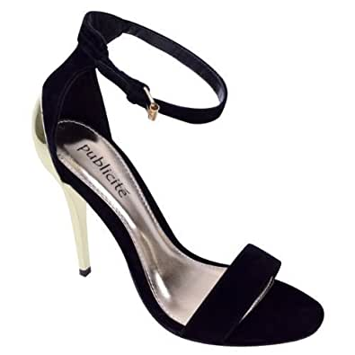 LADIES WOMENS EVENING PROM ANKLE STRAP HIGH HEEL STILETTO SHOES SANDALS SIZE (UK 6 / EU 39 / US 8, Black Suede / Gold)