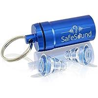 SafeSound Premium Gehörschutz Ohrstöpsel perfekt geeignet fürs Schlafen(Anti-Schnarchgeräusche), Flugzeug, Konzert, Reisen+ Blauer Alubehälter – Wiederbenutzbar mit zertifizierten Filter (Medium)