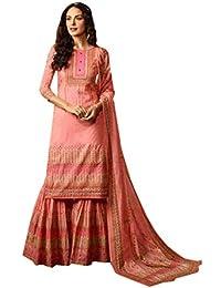 ETHNIC EMPORIUM Peach Mujeres Musulmanas Casual Garara impresión Digital  Indio étnico Bollywood Mujer niña Vestido Pesado 5d741521bf7