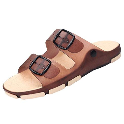 Weyeei Mujer Hombres Zapatillas Chancletas Moda Verano Respirable Sandalias Playa Zapatos (Marrón, EU 44)