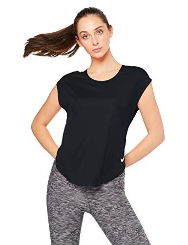 Nike-loose-training Top (Nike Damen W NK City Sleek TOP SS T-Shirt, Black/Reflective silv, M)