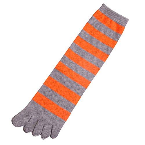 Butterme Unisex Männer Frauen klassische gestreifte Baumwolle Fünf Zehe Socken Weihnachtsgeschenk Knöchel Zehe Socken (Zehen-socken Gestreifte Orange)