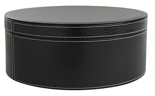 PEGANE Boite Ronde en Polyuréthane et Croco, Coloris Noir, Ø 33 h 13,5 cm