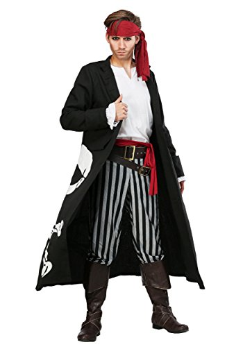 Pirate Flag Captain Plus Size Mens Fancy dress costume (Pirate Kostüm Plus Size Mens)