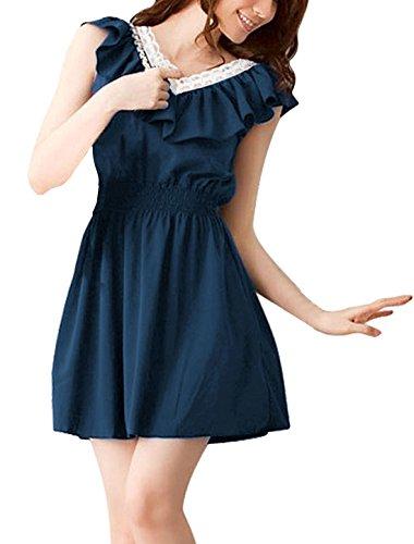 Allegra K - Damen Sommer Kleid Gehäkelter V-Ausschnitt Gesmokte Taille Rüschen (Allegra Sommer Kleider)