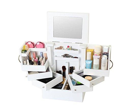 étui cosmétique Meuble de rangement pliable pour tablette Cabinet de bijoux à maquillage multifonction Grande capacité Blanc