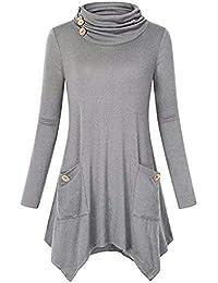 Abfall & Recycling Damen Pullover Sweatshirt,Juliyues Frauen Knopf Langarm Sweater Übergröße Turtleneck Oberteil Langarmshirt Tops Bluse S-5XL
