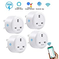 ELEAD 16A Smart Plug WiFi Plug Outlet Socket Extension Mini Timer Remote Control Plugs for Air Conditioner Home High-power Appliance Supports 2.4GHz Network Compatiable with Alexa, Google Home(4 Pack)