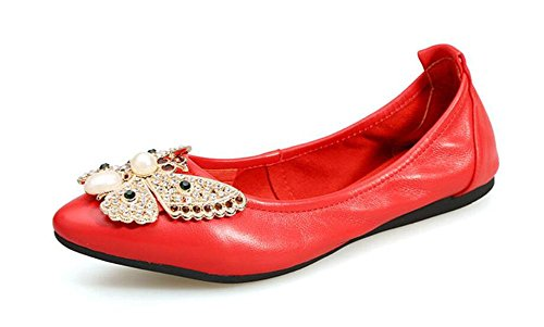 GLTER Women 's Fold Up Ballerina metallo Strass fiocco fiori Uova Scarpe a punta della bocca poco profonda dolce Casual Shoes Red