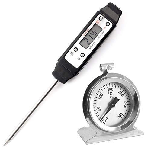 Lantelme 2836 Küchenthermometer Set mit Backofenthermometer und Digital Einstichthermometer