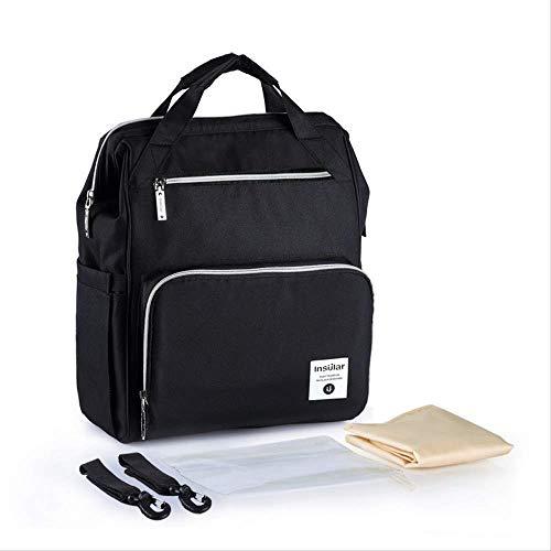 New Mummy Backpack Zipper Große Kapazität Travel Maternity Bag Windel Baby Bag Multifunktionale Wickeltasche Rucksack Babypflege schwarz - Canvas Long Strap Handtasche