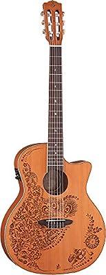 Luna Guitars Oasis Spruce II - Guitarra electroacústica (cuerdas de nailon), diseño de henna
