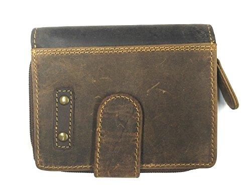 Herren Echt Leder MINI Geldbörse Geldbeutel Portemonnaie, Vintage Braun