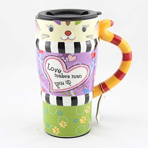 CJH Tasse De Chat Peint Tasse De Animal Mignon Avec Couvercle Avec Tasse À Café En Céramique Tasse De Couple Créative D