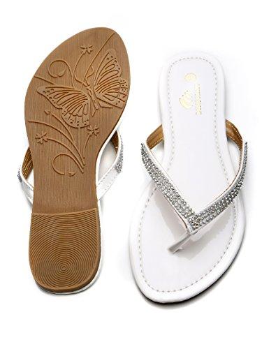 LONGCLASS elegante Damen Flip Flops EXCELLENCE feine Sandaletten mit Absatz Zehentrenner Damen mit bequemer Sohle mit edlen Strass Glitzersteinen für Sommer Relaxen Hochzeit weiß schwarz Weiß