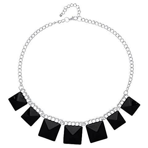 Front Row Silver Colour Black Resin Square Necklace of Length 42-47cm