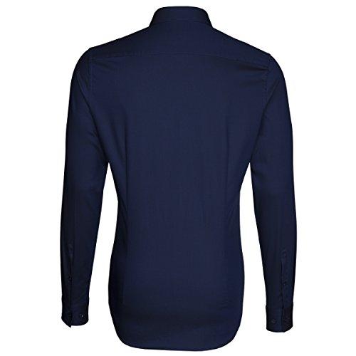 Seidensticker Herren Langarm Hemd UNO Super Slim Stretch blau strukturiert 572800.18 Blau
