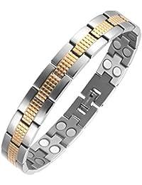 Moocare zwei Ton Gesundheit Magnetarmband Titan mit Falte über Spangen Doppelreihen Magnete Sport Golf Armband für Männer