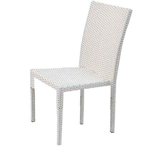Preisvergleich Produktbild Sessel Stuhl Gartenmöbel Gartenbar Polyrattan weiß