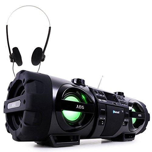 AEG Stereoanlage Soundbox Ghettoblaster Boombox CD MP3 Bluetooth Radio Kopfhörer