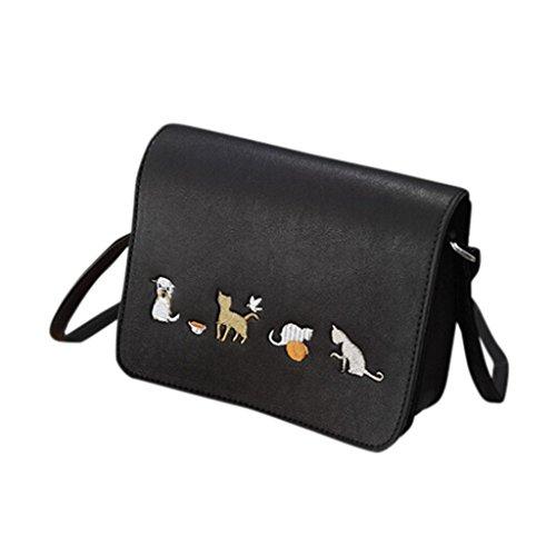 BZLine® Frauen Retro Tierstickerei Einfache Tasche Crossbody Umhängetasche Schwarz