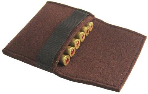 em Patronenetui - Filz für 6 Große Kugeln, braun, mit Gürtelschlaufe - Gürtelschlaufe
