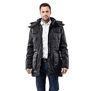 Vincenzo Boretti Herren Winter-Jacke dick warm gefüttert Parka kuschelig sportlich elegant Winter-Mantel Slim-fit tailliert lang für Outdoor Business mit Steh-Kragen und Kapuze